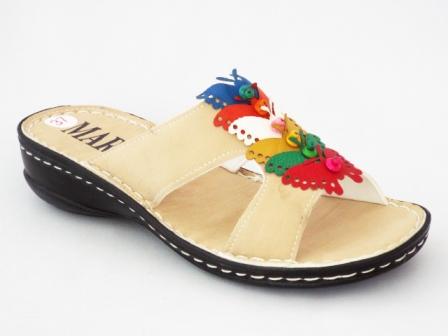 Papuci dama bej cu accesorii imitatie fluturi