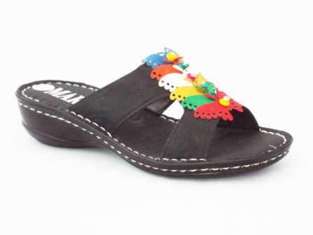 Papuci dama negri cu accesorii imitatie fluturi
