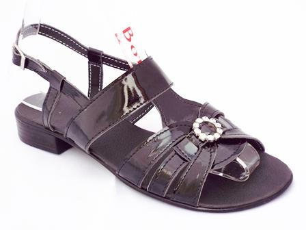 Sandale dama negre, din piele naturala cu accesoriu cu pietre tip swarovski