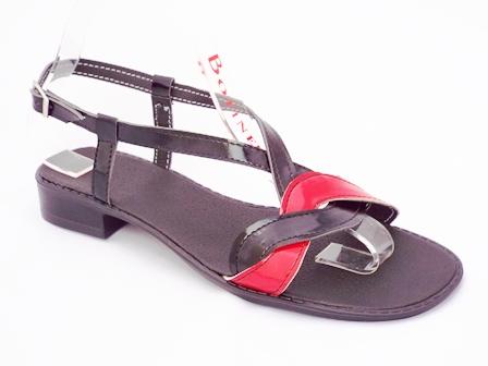 Sandale dama negre cu rosu, din piele naturala