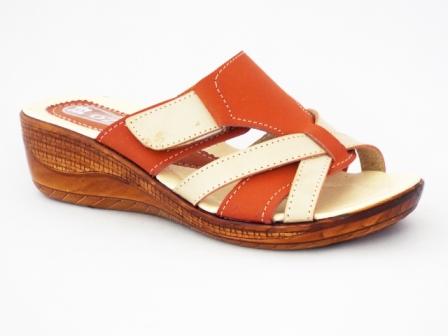Papuci dama portocaliu cu bej, piele naturala si talpa ortopedica