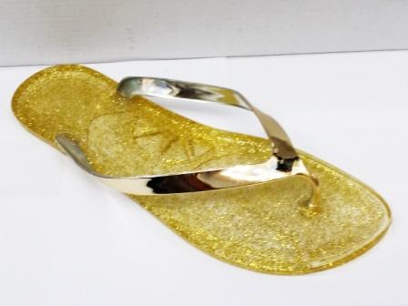 Papuci dama galbeni, cu barete aurii, de plaja