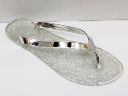 Papuci dama argintii, de plaja