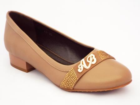 Pantofi dama bej ,cu toc de 3 cm si strasuri aurii