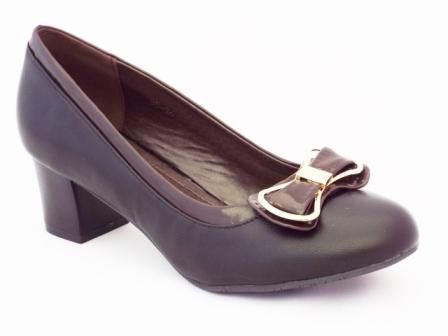 Pantofi dama negri , toc de 5 cm, cu accesoriu metalic