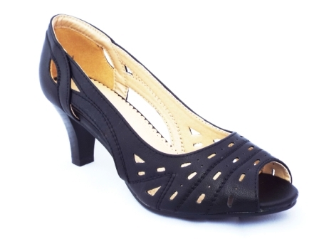 Sandale dama negre perforate, cu toc de inaltime medie