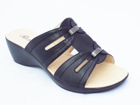 Papuci dama negri, cu doua accesorii metalice
