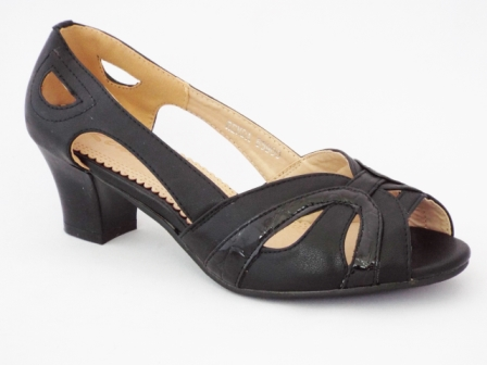 Sandale dama negre, cu toc de 6 cm, deosebit de comode