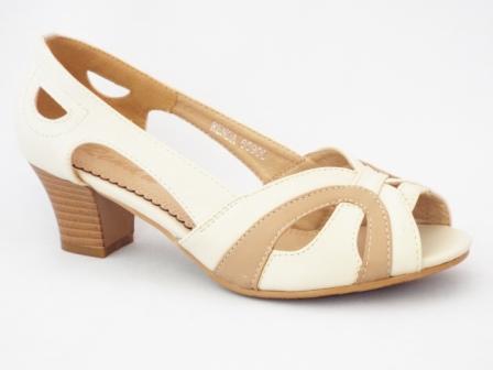 Sandale dama bej, cu toc de 6 cm, deosebit de comode