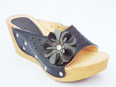 Papuci dama negri cu accesoriu imitatie floare