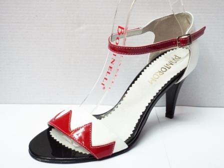 Sandale dama albe cu insertii de rosu si negru, din piele naturala