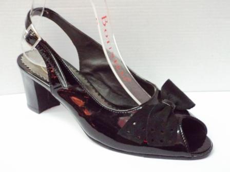 Sandale dama negre din piele naturala , cu model tip funda dn piele intoarsa