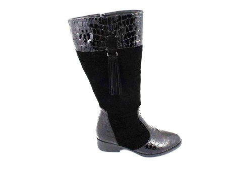 Cizme dama negre elegante ROMA CROCO, din piele naturala (piele intoarsa & lacuita), cu fermoar lateral.