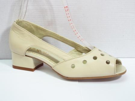 Sandale dama bej din piele naturala , cu model perforat