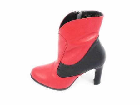 Ghete dama rosu/negru ROMA, din piele naturala, cu fermoar lateral si toc de inaltime medie