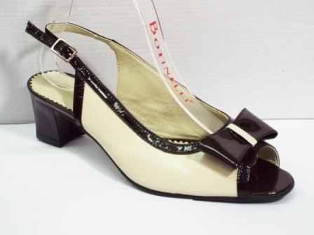 Sandale dama bej cu maro, din piele naturala