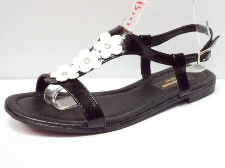 Sandale dama negre din piele naturala , cu model tip floare