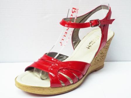 Sandale dama rosii, din piele naturala, cu talpa ortopedica
