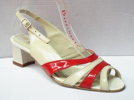 Sandale dama bej cu rosu din piele naturala