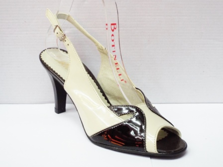 Sandale dama bej cu insertii de maro inchis, din piele naturala