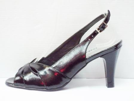 Sandale dama negre din piele naturala cu toc de 8,5 cm