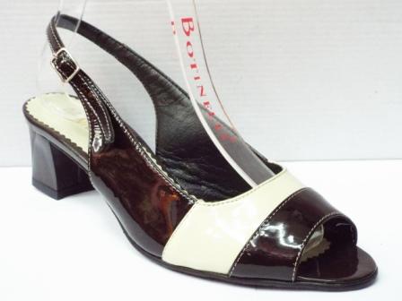 Sandale dama bej cu insertii de negru, din piele naturala