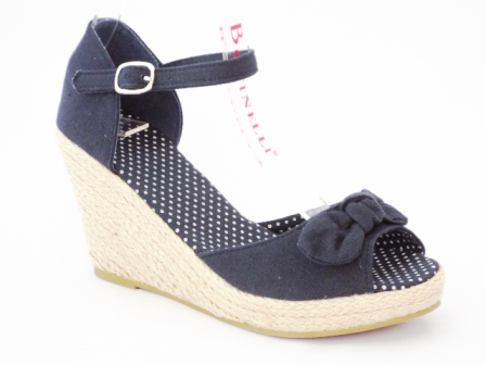 Sandale dama bleumarin, cu talpa ortopedica si accesoriu frontal tip funda