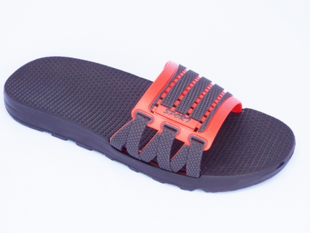 Papuci barbati rosii cu negru, de plaja