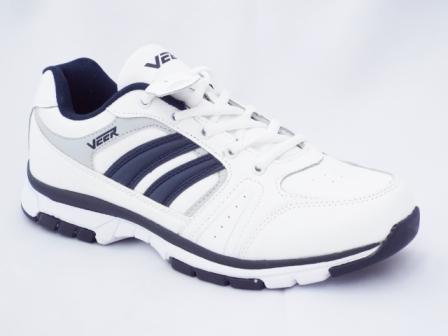 Adidasi barbati albi cu dungi albastre din piele naturala & inlocuitor piele marca VEER, talpa flexibila.