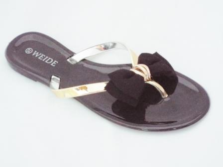 Papuci dama negri cu barete aurii si accesoriu tip funda